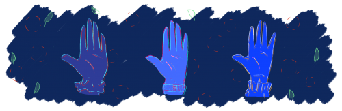 Three blue hands in a line