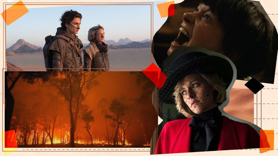 Collage of movie posters for Dune, Burning, I Am Not Your Mother and Spencer with orange tape