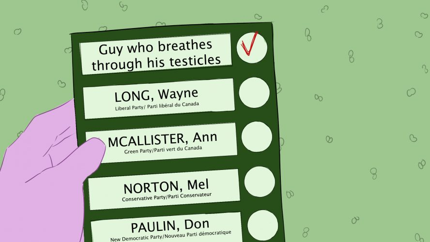 """Image of a voting ballot where the person has checked off """"Guy who breathes through his testicles"""""""