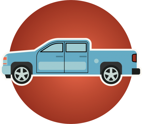 a blue pick-up truck