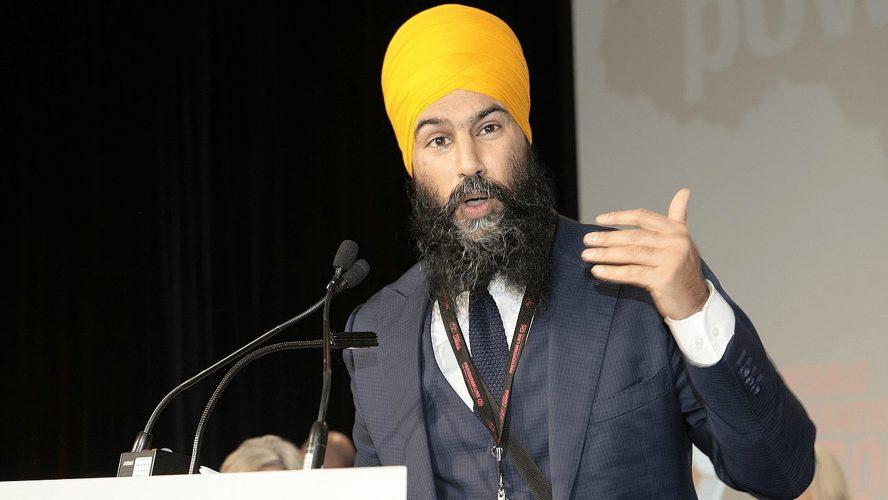 Jagmeet Singh giving a speech